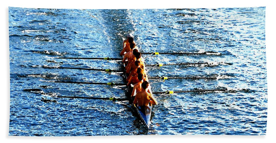 Rowing Bath Sheet featuring the photograph Rowing In by David Lee Thompson