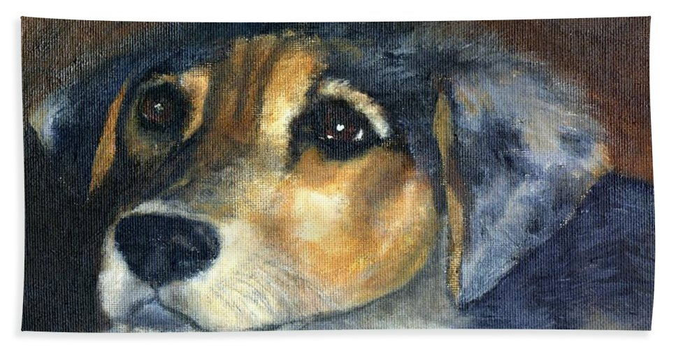 Dog Hand Towel featuring the painting Roxie by Gail Kirtz