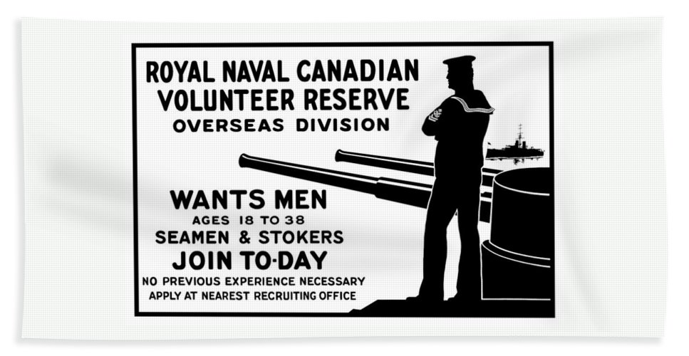 World War One Bath Sheet featuring the mixed media Royal Naval Canadian Volunteer Reserve by War Is Hell Store