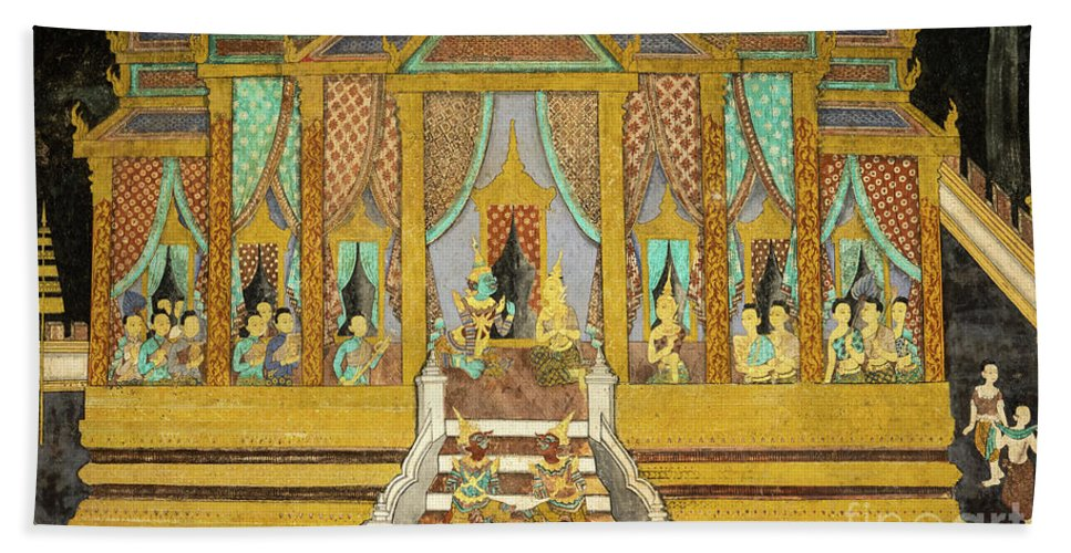 Cambodia Hand Towel featuring the photograph Royal Palace Ramayana 21 by Rick Piper Photography