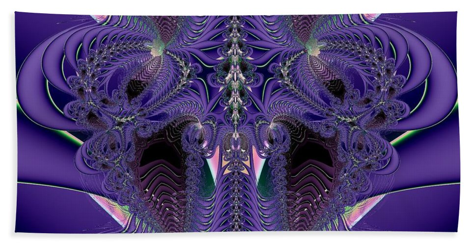 Backbones Hand Towel featuring the digital art Royal Purple Backbone Fractal Abstract by Rose Santuci-Sofranko