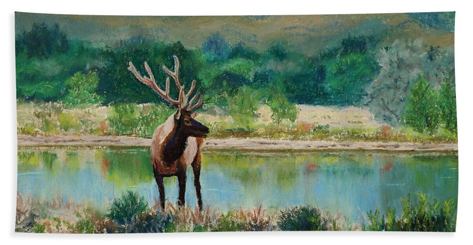 Elk Hand Towel featuring the painting Royal Velvet by Mary Benke