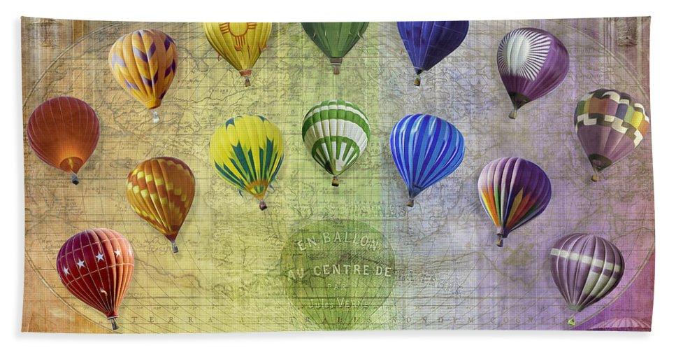 Balloon; Balloons; Hot Air Balloon; Travel; Vacation; Swirl; Airy; Moody; Compilation; Map; Rainbow Bath Sheet featuring the digital art Roygbiv Balloons by Melinda Ledsome
