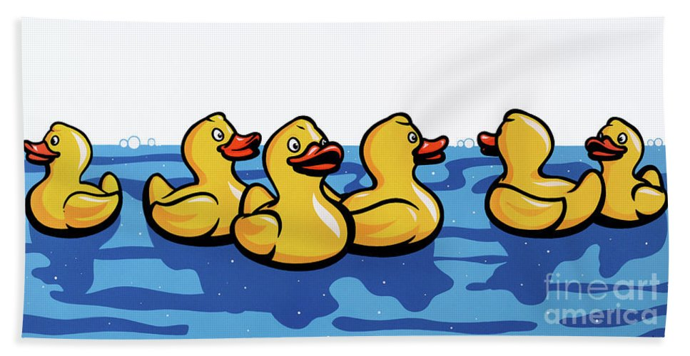Rubber Hand Towel featuring the painting Rubber Ducks by James Lee