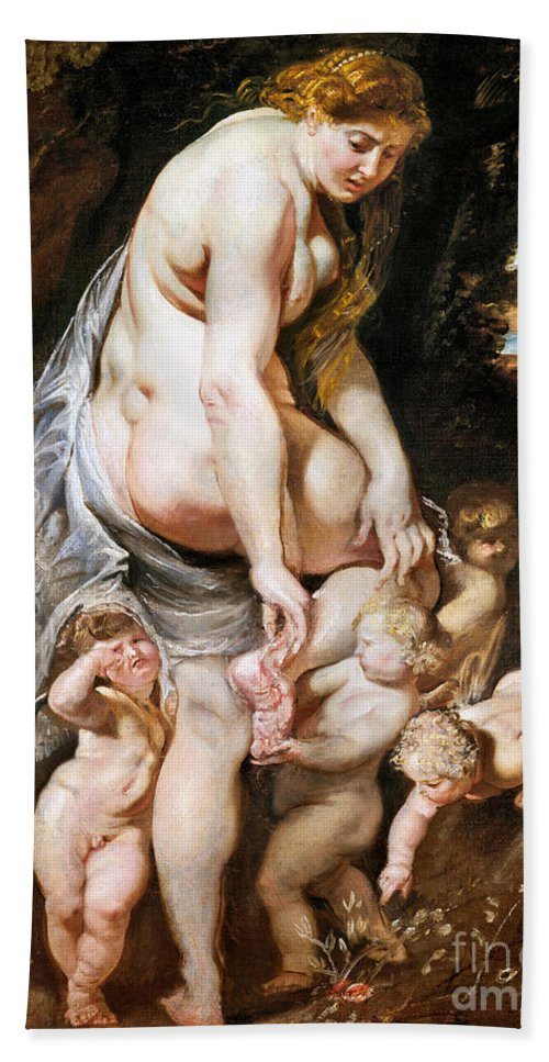1606 Hand Towel featuring the painting Rubens: Venus, C1606-09 by Granger