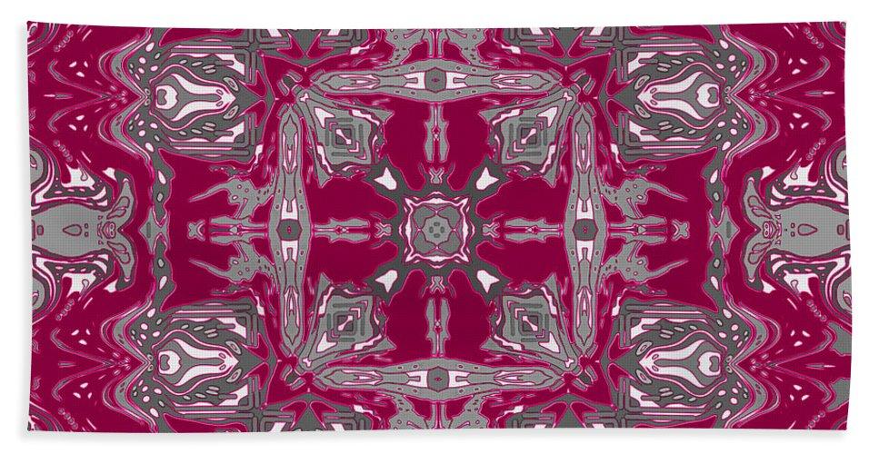 Digital Bath Sheet featuring the digital art Rubies And Silver Kaleidoscope by Joy McKenzie