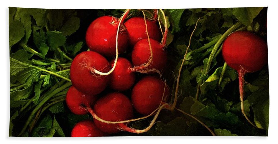 Radishes Hand Towel featuring the painting Rubies From The Field by RC DeWinter