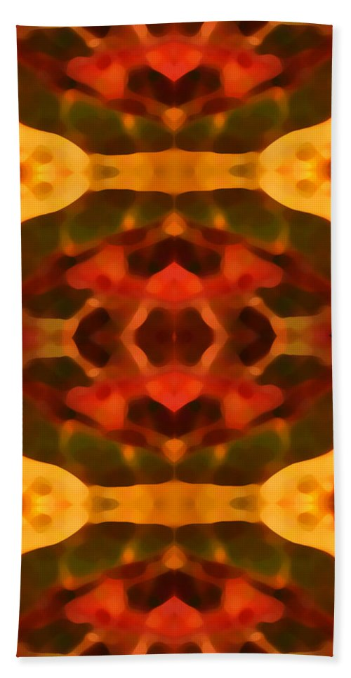 Abstract Painting Hand Towel featuring the digital art Ruby Crystal Pattern by Amy Vangsgard