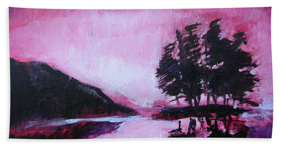 Ruby Dawn Hand Towel featuring the painting Ruby Dawn by Seth Weaver