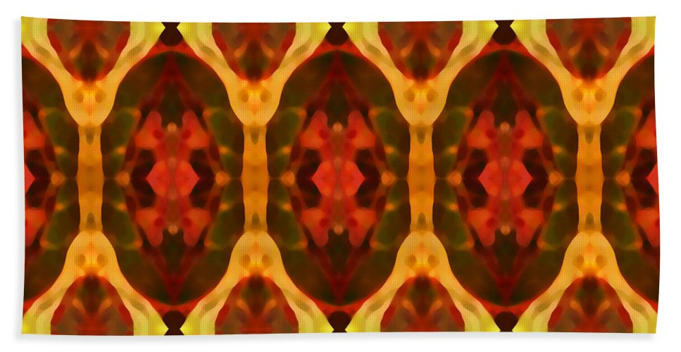Abstract Hand Towel featuring the painting Ruby Glow Pattern by Amy Vangsgard