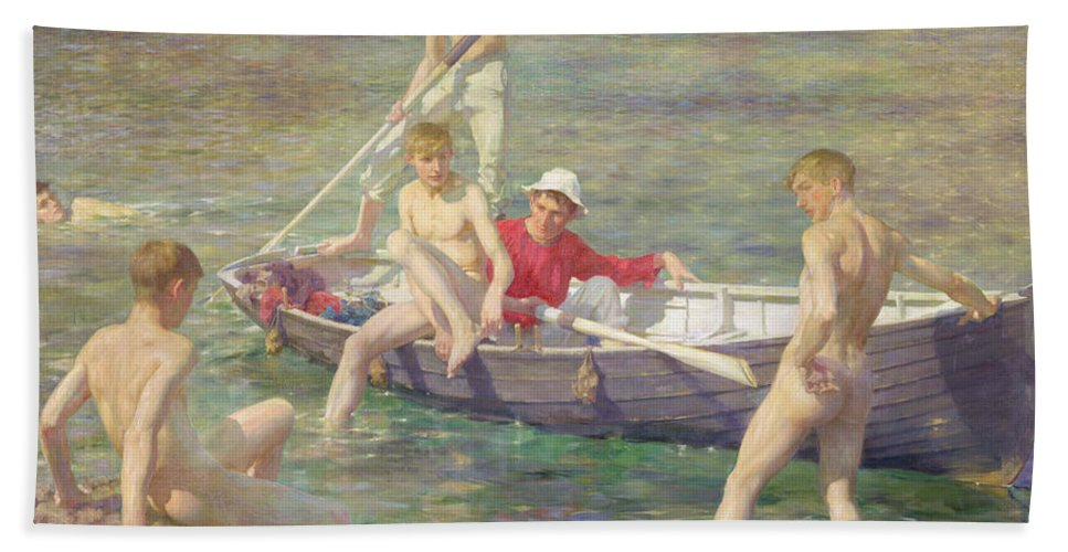 Boat Hand Towel featuring the painting Ruby Gold And Malachite by Henry Scott Tuke
