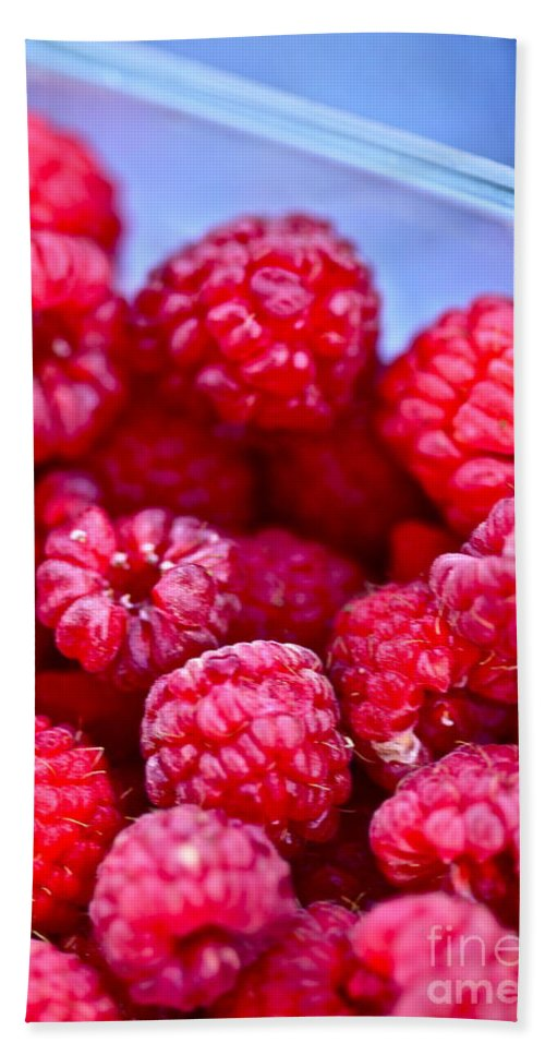Red Bath Towel featuring the photograph Ruby Raspberries by Nadine Rippelmeyer