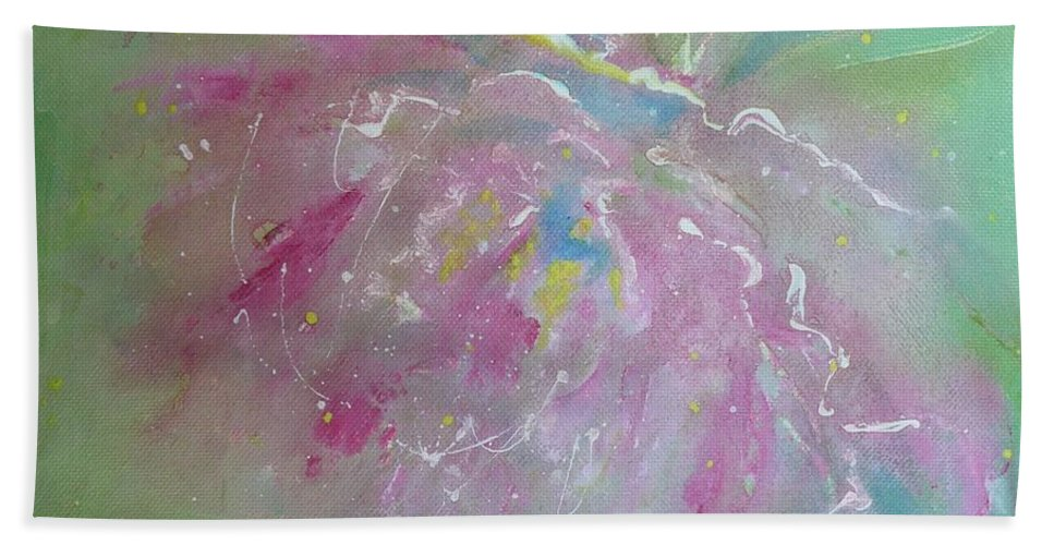 Peony Bath Towel featuring the painting Ruby Red Peony by Ruth Kamenev