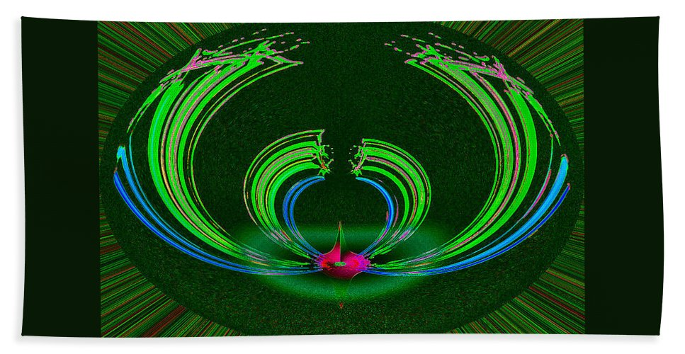 Ruby Hand Towel featuring the digital art Ruby Singularity In Emerald Sapphire Nest by Don Quackenbush