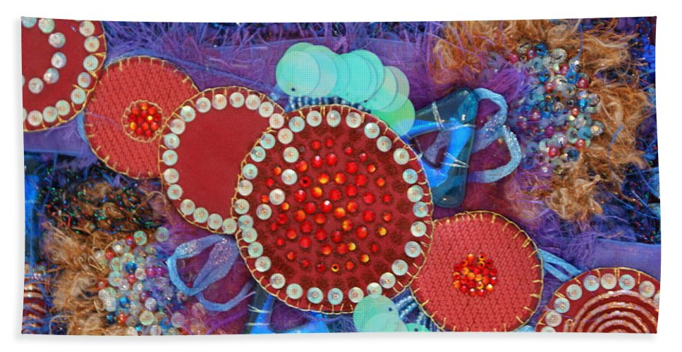 Bath Towel featuring the mixed media Ruby Slippers 2 by Judy Henninger