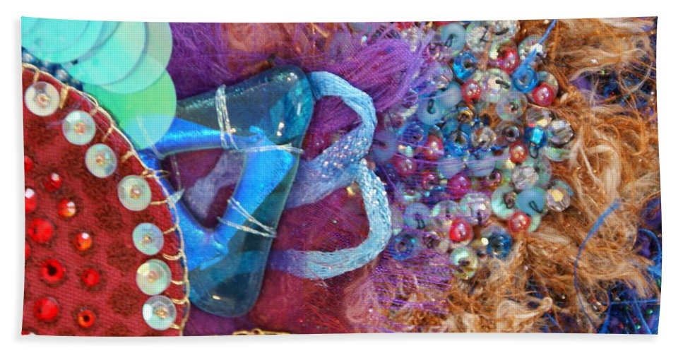 Bath Towel featuring the mixed media Ruby Slippers 8 by Judy Henninger