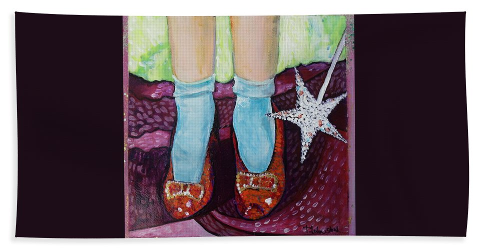 Ruby Slippers Bath Sheet featuring the painting Ruby Slippers by Tanya Johnston