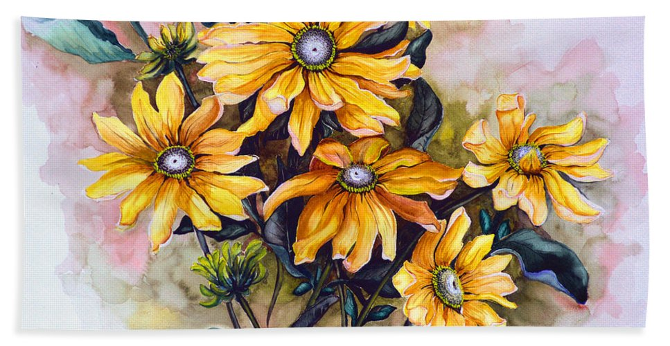 Flower Painting Sun Flower Painting Flower Botanical Painting  Original Watercolor Painting Rudebeckia Painting Floral Painting Yellow Painting Greeting Card Painting Hand Towel featuring the painting Rudbeckia Prairie Sun by Karin Dawn Kelshall- Best