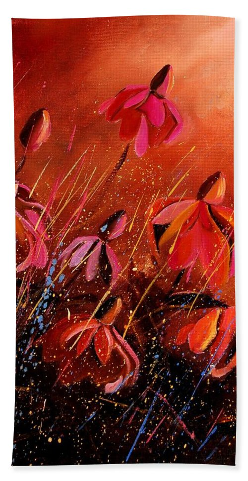 Poppies Bath Towel featuring the painting Rudbeckia's 45 by Pol Ledent