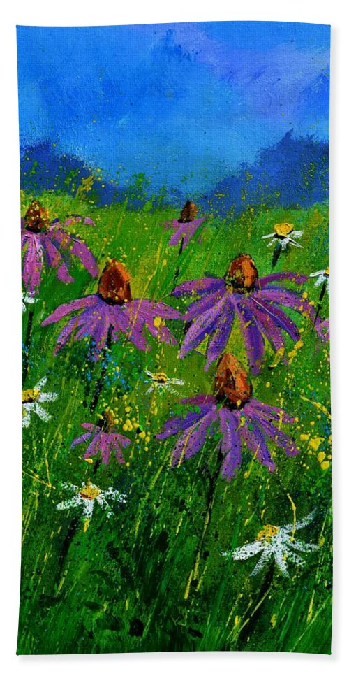 Flowers Hand Towel featuring the painting Rudbeckias 4551 by Pol Ledent