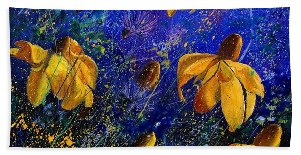 Poppies Bath Towel featuring the painting Rudbeckia's by Pol Ledent