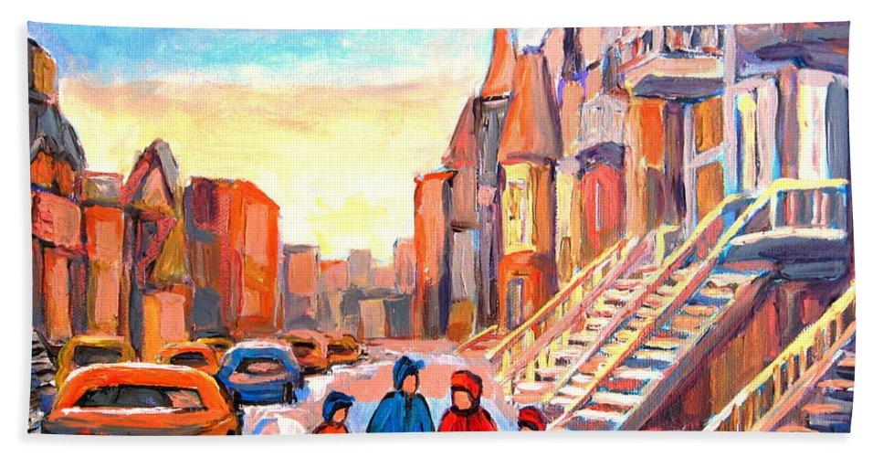 Rue Hotel De Ville Montreal Bath Sheet featuring the painting Rue Hotel De Ville Montreal by Carole Spandau