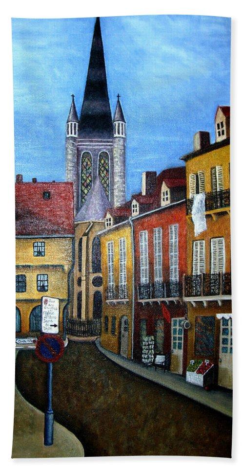 Street Scene Hand Towel featuring the painting Rue Lamonnoye In Dijon France by Nancy Mueller