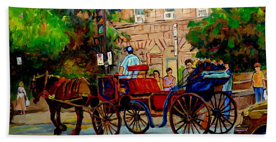 Notre Dame Street Montreal Bath Sheet featuring the painting Rue Notre Dame Montreal by Carole Spandau