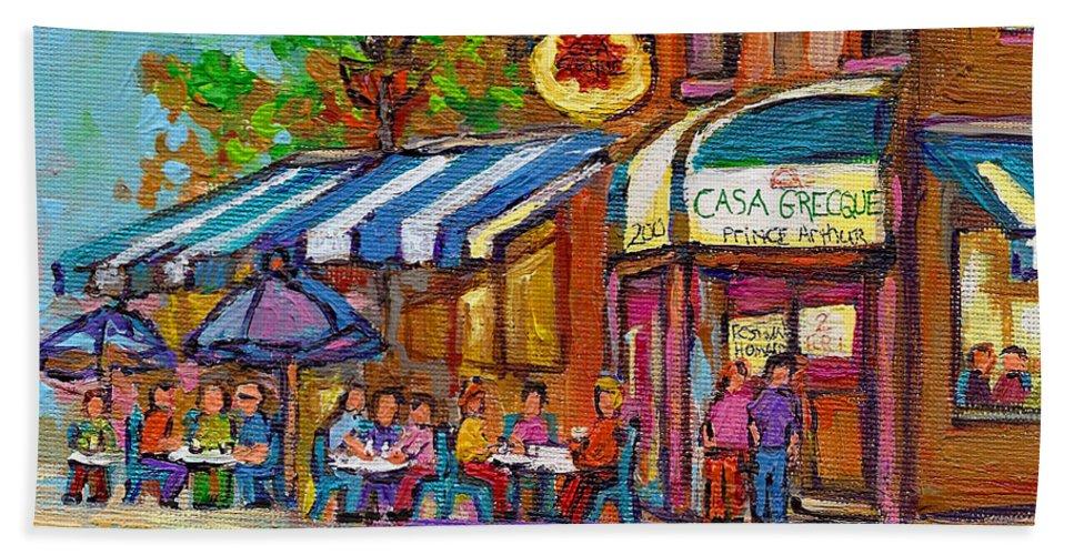 Bath Sheet featuring the painting Rue Prince Arthur Casa Grecque Montreal by Carole Spandau