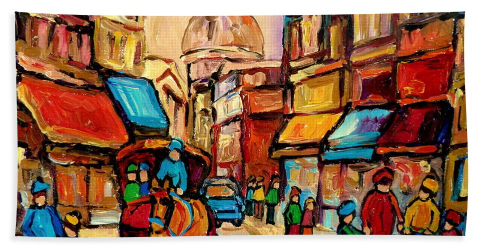 Montreal Streets Bath Towel featuring the painting Rue St Jacques Old Montreal Streets by Carole Spandau