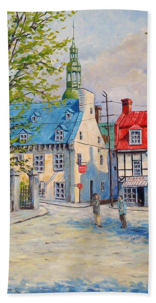 Ste Anne Bath Towel featuring the painting Rue Ste Anne 1965 by Richard T Pranke