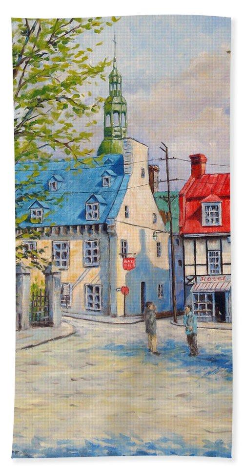 Ste Anne Bath Sheet featuring the painting Rue Ste Anne 1965 by Richard T Pranke