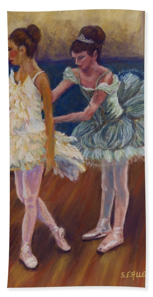 Ballerina Hand Towel featuring the painting Ruffled Feathers by Sharon E Allen
