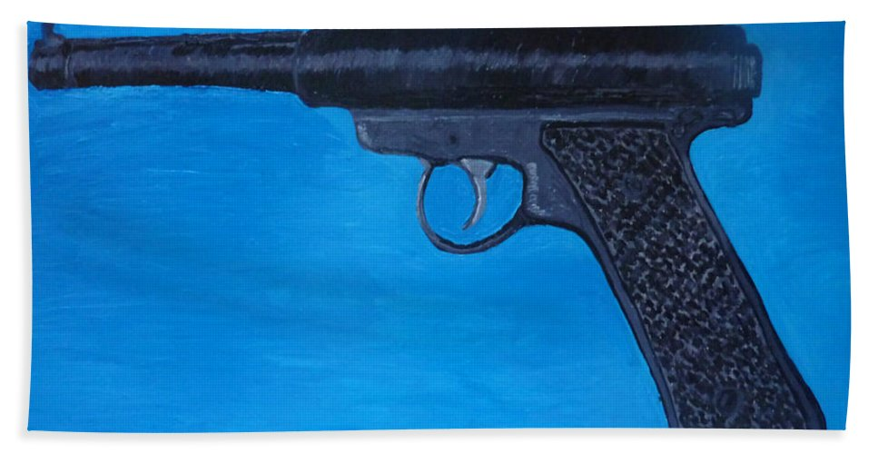 Hand Towel featuring the painting Ruger by Patrice Tullai