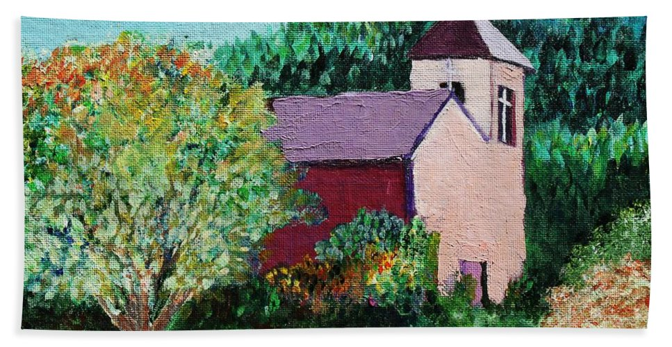 Church Bath Towel featuring the painting Ruidoso by Melinda Etzold