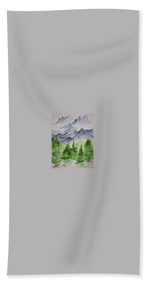 Plein Air Hand Towel featuring the painting Ruidoso NM southwestern mountain landscape watercolor painting poster print by Derek Mccrea