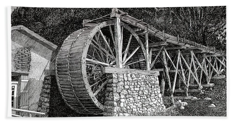 Images Of Ruidoso Waterwheel Scenic Structures Bath Sheet featuring the drawing Ruidoso Waterwheel by Jack Pumphrey