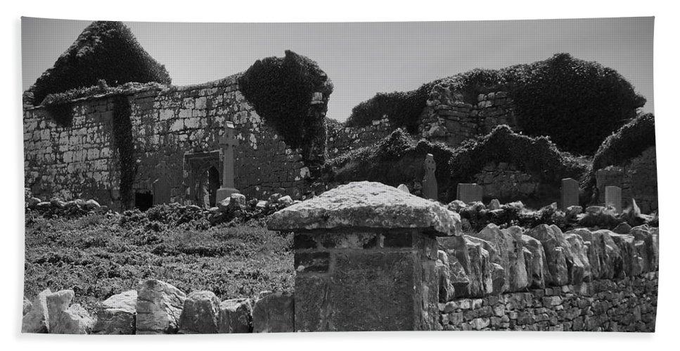 Irish Bath Towel featuring the photograph Ruins In The Burren County Clare Ireland by Teresa Mucha
