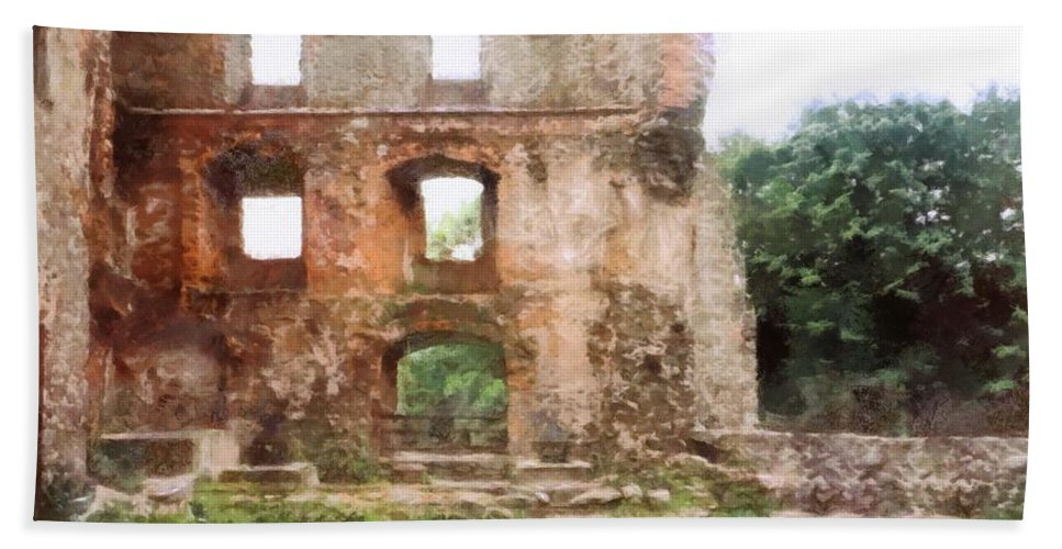 Castle Ruins. Hand Towel featuring the digital art Ruins by Marcin and Dawid Witukiewicz