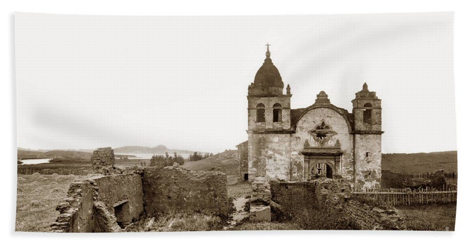 Carmel Mission Hand Towel featuring the photograph Ruins Of Carmel Mission, Monterey, Cal. Circa 1882 by California Views Archives Mr Pat Hathaway Archives