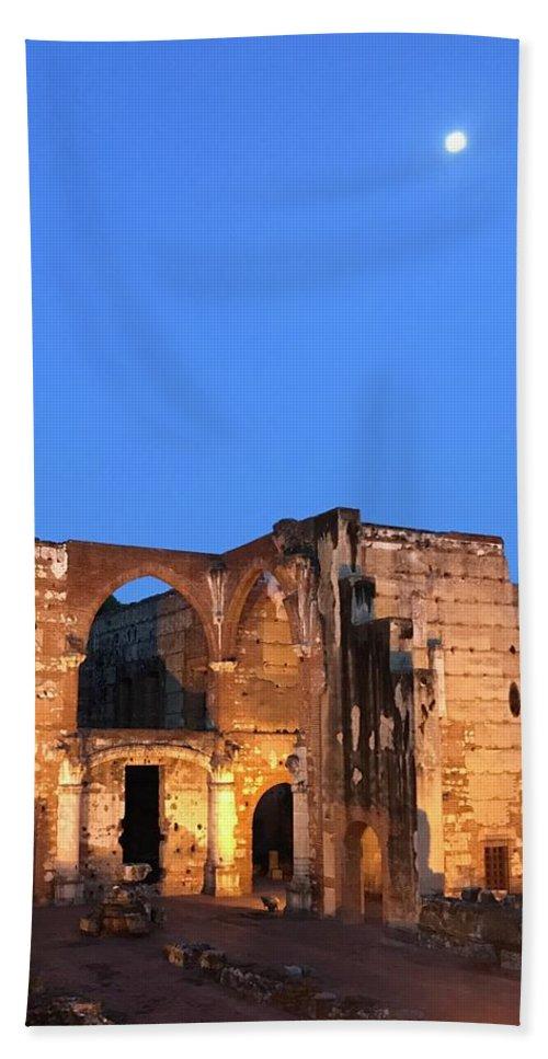 Night Hand Towel featuring the photograph Ruins Of San Nicolas De Bari Hospital by Theodore Johns