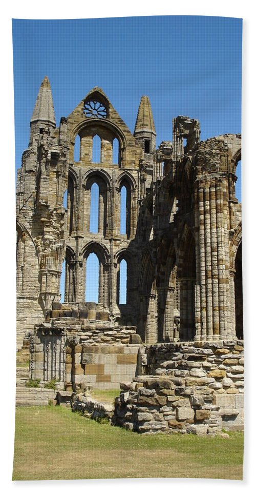 Whitby Bath Sheet featuring the photograph Ruins Of Whitby Abbey by Susan Baker