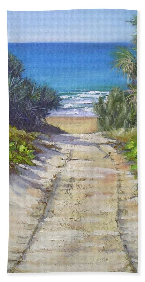 Beach Painting Hand Towel featuring the painting Rules Beach Queensland Australia by Chris Hobel