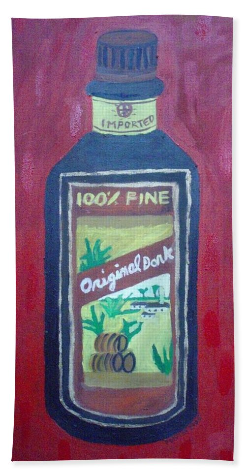 Oil On Canvas Hand Towel featuring the painting Rum by Patrice Tullai