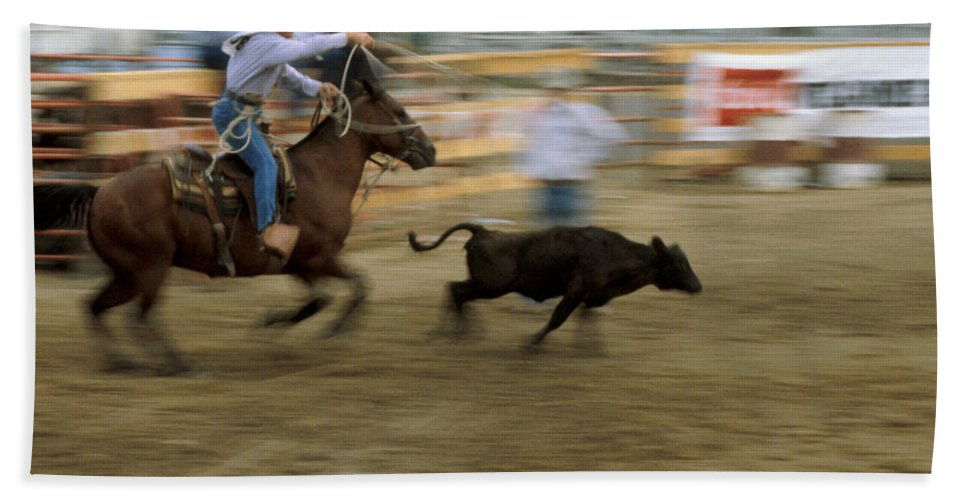 Rodeo Bath Sheet featuring the photograph Run Little Doggie by Jerry McElroy