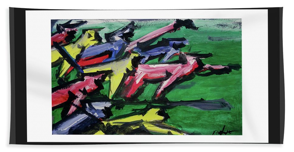 Abstract On Paper Hand Towel featuring the painting run by ROhit Ramanuj