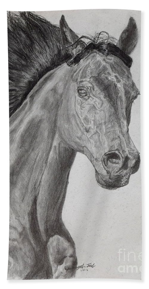 Horse Hand Towel featuring the drawing Running Horse by Hanunyah Fish
