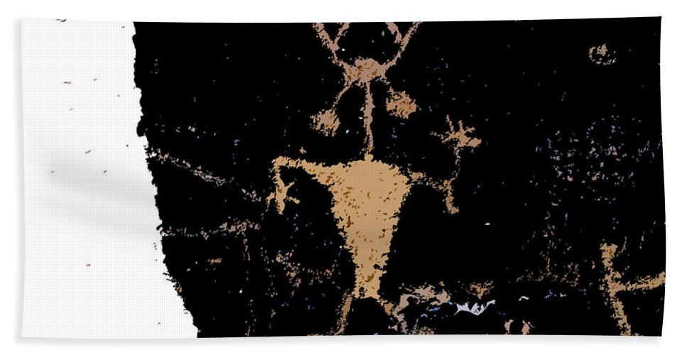 Running Bath Sheet featuring the painting Running Man Work B by David Lee Thompson