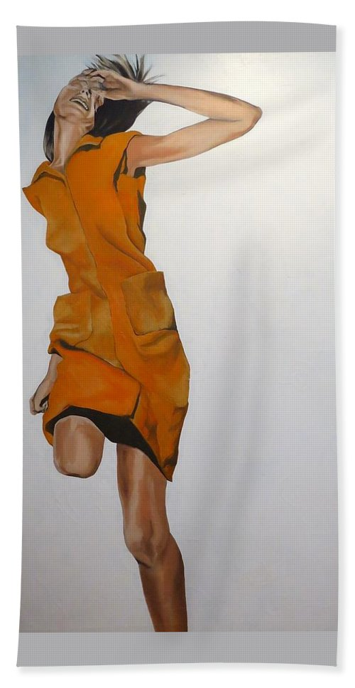 Woman Hand Towel featuring the painting Running Woman by Janice Petrella-Walsh