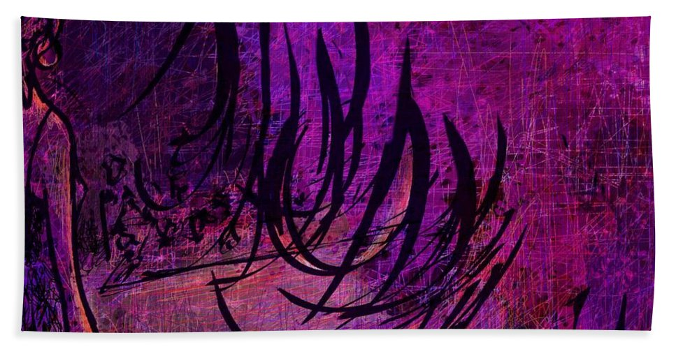 Abstract Bath Sheet featuring the digital art Runway by Rachel Christine Nowicki